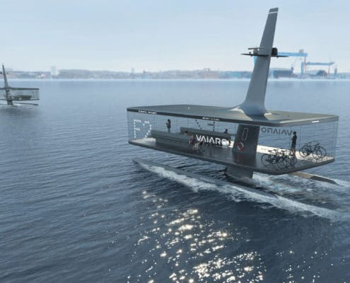 "The two different concepts of the VAIARO project with the names ""Floating Platform"" and ""Passage"""